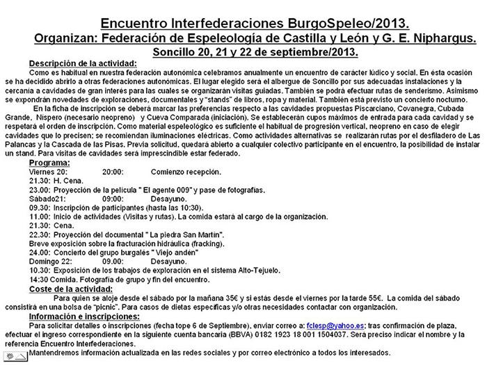 Encuentro Interfederaciones BurgoSpeleo 2013